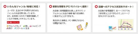 いろんなジャンル・地域に対応 新鮮な情報をPC/モバイルへ提供 店舗へのアクセス状況をサポート